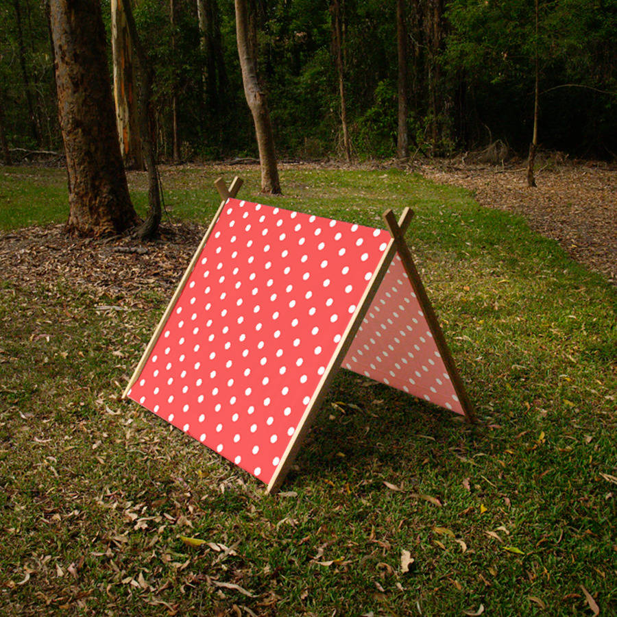 collapsible-play-tent-made-from-solid-wood-and- & A Frame Tent - Polka Dot Red | Curioo Wooden Toys